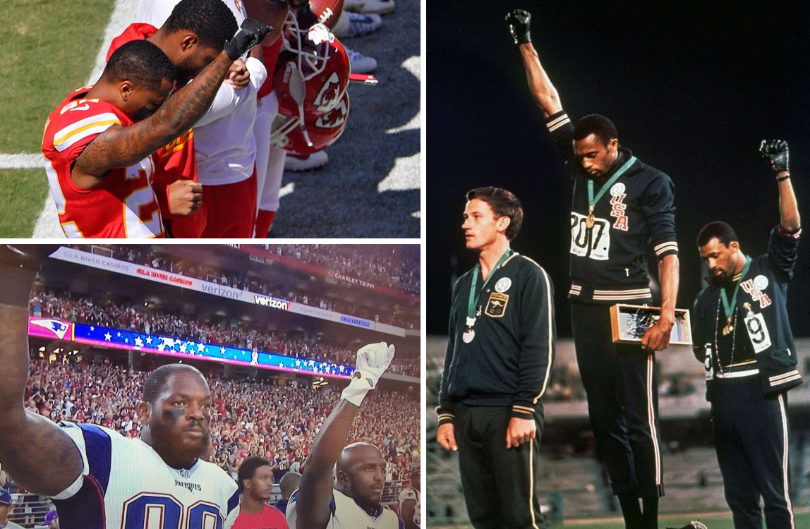 A sinistra Marcus Peters (Kansas City), Martellus Bennett e Devin McCourty (New England), a destra Tommie Smith e John Carlos con Peter Norman